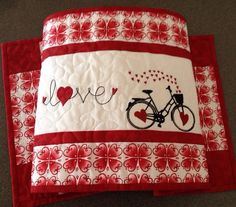 Quilted VALENTINE Table Runner . . . #embroideredbicycleandhearts . . . #loveaccentembroidery  . . . #richredcolor