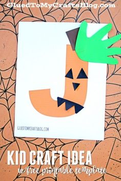 """october crafts for kids The letter """"J is for """"Jack-o-lantern"""" and with this kid craft idea w/free printable template, you will have the PERFECT activity to reinforce that idea! Letter J Crafts, Abc Crafts, Alphabet Crafts, Daycare Crafts, Toddler Crafts, Alphabet Coloring, Alphabet Book, Alphabet Letters, Letter Art"""