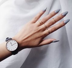 gray oval nails
