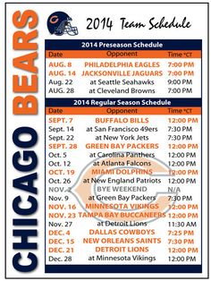 photograph regarding Printable Bears Schedule called 7 Least complicated Chicago Bears Plan visuals within just 2016 Chicago bears