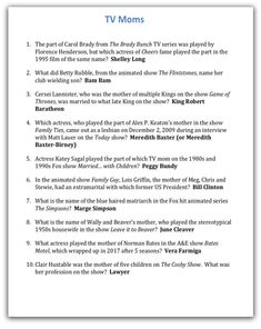 Funny Quiz Questions, Trivia Questions And Answers, Tv Moms, Bible Study Lessons, Trivia Games, Quizzes, Ice Breakers, Seesaw, Lettering