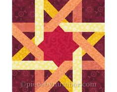 Inspired by the interlaced ribbon motifs seen in Moorish architecture and Celtic art, the Moorish Ribbon Star quilt block pattern is surprisingly easy to sew, given the intricacy of the design. A lovely twisted ribbon effect is achieved by using two values of the same color family for each of the two four-pointed stars. Use 1, 2 or 3 background colors for a variety of effects. This paper pieced quilt pattern makes a 12 inch finished size quilt block, which may be easily resized as needed…