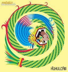Kukulcán, dios maya de la sabiduría #DiosesMayas #MundoMaya #mayas / Ilustración: Oldemar