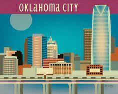 Oklahoma City Oklahoma Skyline  City Wall Art 8 x by loosepetals