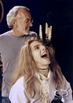 """Stan Winston with Tom Cruise on """"Interview with the Vampire"""". I miss Stan Winston- he always made the most impressive practical makeup effects. Tom Cruise, Vampires, Lestat And Louis, Anne Rice Vampire Chronicles, Queen Of The Damned, Interview With The Vampire, Best Horrors, Horror Films, Cosplay"""