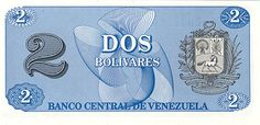Pieza bbcv2bs-aa01p (Reverso). Billete del Banco Central de Venezuela. 2 Bolívares. Diseño A, Tipo A. Fecha Octubre 05 1989. Serie CH7. Billete de prueba