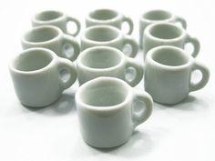 Amazon.com: Set 10 White Coffee Mug Tea Cup Dolls House Miniature Kitchen Ceramic #S Supply - 5377: Toys & Games