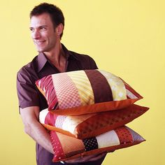 Pillows Made with Ties; this is neat! For any thrifty finds or old worn ties, craft into a pillow.