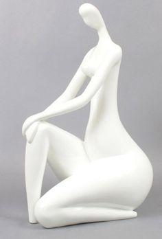 Sculpture design femme blanche - Décos Du Monde