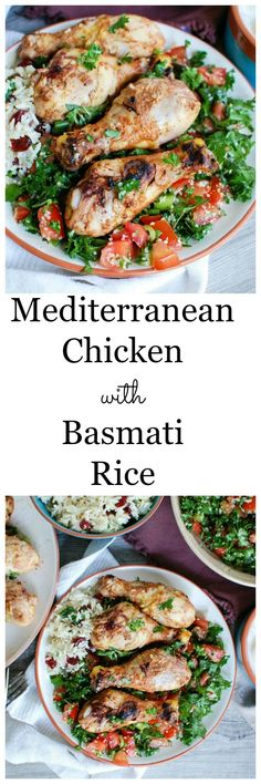 Mediterranean Chicken with Basmati Rice is marinated in a yogurt sauce with rich, warm spices. It is grilled and paired with an herbed basmati rice with vermicelli and topped with fresh tabbouleh for a fresh summer meal.  // A Cedar Spoon