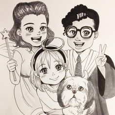 Halloween children memories n.12 #inktober #inktober2015 #art #halloween #dog #shihtzu #children #comic #cute #original #illustration #copic #イラスト #犬 #子ども #portrait #pet