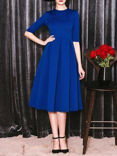 Shop Midi Dresses - Half Sleeve A-line Elegant Midi Dress online. Discover…
