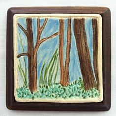 Forest Trees Tile – Etched and Hand Painted