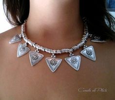 f396cb039300 Bohemian necklace. Tribal necklace. Arrowheads Choker. Triangle necklace  engraved flowers
