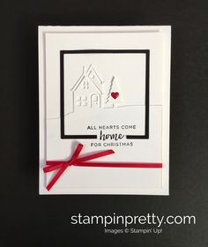 Create a simple Christmas card using Hometown Greetings Edgelits Dies and Layering Squares Framelits Dies - StampinUp Stampin Up
