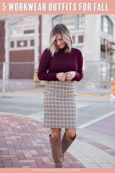 5 Office-Ready Fall Outfits 5 Fall work wear looks for everything from Casual Fridays to Business Meetings! has you covered, no matter what your office setting is! Casual Work Wear, Fall Outfits For Work, Work Attire, Dresses For Work, Living In Yellow, Plaid Pencil Skirt, Work Wardrobe, Fall Trends, Autumn Winter Fashion