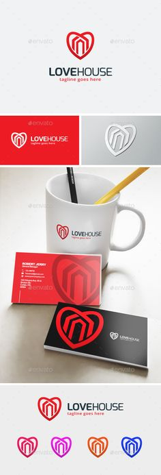 Love House Logo Template Vector EPS, AI. Download here: http://graphicriver.net/item/love-house-logo/11903394?ref=ksioks