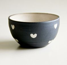 Black   White Hearts Ceramic Bowl //\\ BY ROSSLAB AT BRIKA
