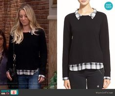 Penny's black sweater with plaid shirt on The Big Bang Theory. Outfit Details: https://wornontv.net/67234/ #TheBigBangTheory