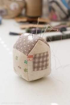 Zakka Style Little House Pin Cushion | Flickr - Photo Sharing!  - Hmmm....I'm not the only one who makes little fabric houses that look like they ate too much....