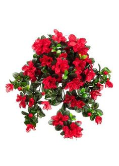 "Water-Resistant Outdoor Fake Flowers -Azalea Hanging Bush in Red 29"" Long"