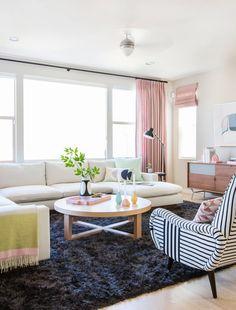 Emily Henderson Design Milk Modern Pink Black And White Jaimie Derringer Living Room Reveal 2 With Frame