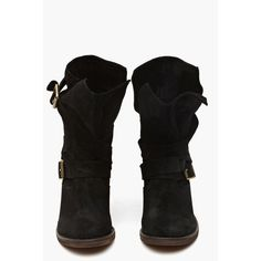 France Strapped Boot - Black Suede found on Polyvore