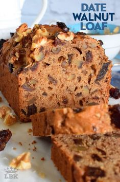 Date Walnut Loaf - Lord Byron's Kitchen Loaf Recipes, Wing Recipes, Vegan Recipes Easy, Dessert Recipes, Rhubarb Recipes, Lemon Recipes, Dessert Bars, Cupcake Recipes, Vegan Desserts