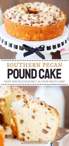 Try this back to school snack idea for yourselves! Southern Pecan Pound Cake couldn't be easier to put together. This rich and moist back to school treat would melt in your mouth if it weren't for the amazing crunch of delicious pecans! Pin this recipe for later! Best Dessert Recipes, Fun Desserts, Delicious Desserts, Yummy Recipes, Sweets Recipes, Angel Food Cake Pan, Pound Cake Recipes, Pound Cakes, School Cake