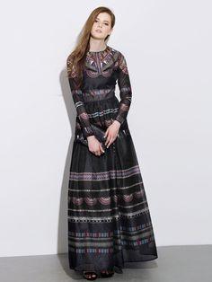 Black,Tribe And Geo Print,Long Sleeve,Empire,Maxi Dress