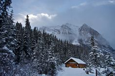 Cabin at Lake Louise in Banff National Park, Canada.  by Mark Iocchelli.
