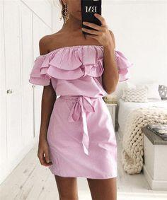 "Off-Shoulder Ruffled ""Tessa"" Mini Dress"