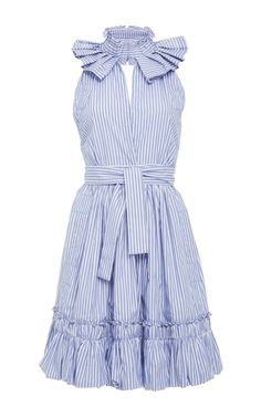 This **Alexis** Briley Ruffle Mini Dress features a pleated mock slit neckline, tie belt, and a ruffled flounce bottom.