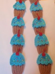 crochet cupcake long scarf blueberry with cherries and by Nora23, $29.00