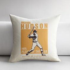 personalized baseball batter throw pillow cover  #redenvelope #fathersday