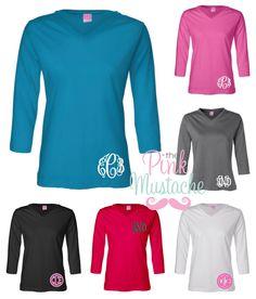 Monogrammed V-Neck 3/4 Length Shirt / Monogrammed Boutique Blouse