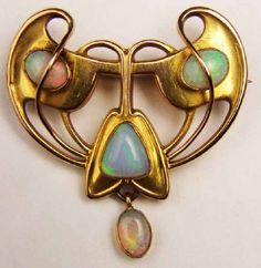 Art Nouveau, Belle Epoque, and Edwardian Jewelry ~ opal brooch