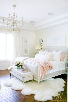 Glam Blush + Gold Spring Bedroom - master bedroom spring home tour - tips to style your bedroom for spring - beautiful master