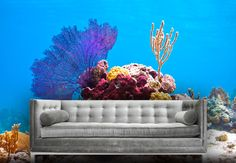 Live Coral Reef Fabric Wall Mural- Made out of a adhesive backed fabric that sticks to almost any surface and can be removed and replaced many times.