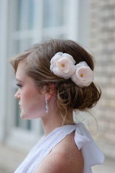 Bridal Hair Mini Silk Flower Fascinators Set of 2 in Pale Peachy Pink by Fine & Fleurie Wedding Bells, Wedding Bride, Wedding Ideas, Pretty Hairstyles, Wedding Hairstyles, Gorgeous Hair, Beautiful, Bridal Accessories, Silk Flowers