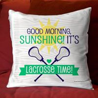 """Add a lacrosse theme to any room with this fun throw pillow. 14"""" x 14"""" zippered pillow with a super comfy faux down insert. One sided design with an option to have design on both sides."""