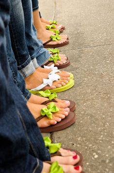 Bridesmaids Bridesmaids' Accessories    Jazz up inexpensive flip flops with sweet bows in your wedding colors.