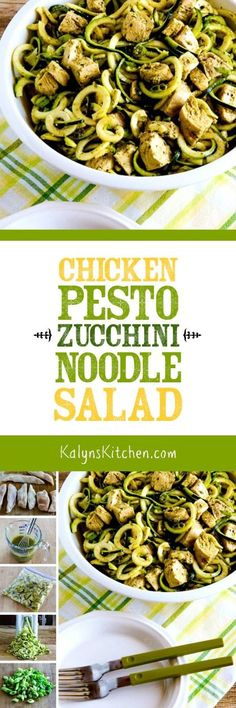 Skip the carb-heavy pasta salad and make this delicious Chicken Pesto Zucchini Noodle Salad next time you need a side-salad for dinner or a party. This tasty salad is low-carb, gluten-free, and South Beach Diet friendly, and if you skip the pesto and use my basil vinaigrette it can be Whole 30 or Paleo! [found on http://KalynsKitchen.com]