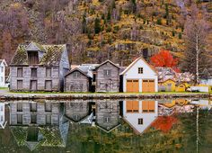 Lake in Laerdal, Norway---  Old Town Reflections by John & Tina Reid, via Flickr