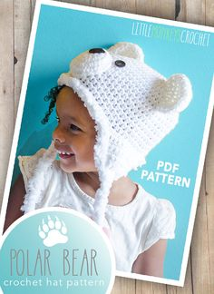 Crochet Pattern Polar Bear Hat  Polar Bear by LittleMonkeysCrochet
