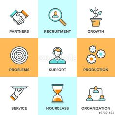 productivity: Line icons set with flat design elements of business people communication, professional support, partnership agreement, solving management problems. Free Vector Files, Vector Free, Icon Design, Logo Design, People Icon, Web Design Tutorials, Business Icon, Pictogram, Line Icon