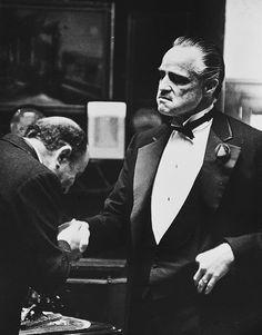 Salvatore Corsitto as Amerigo Bonasera and Marlon Brando as Don Vito Corleone in The Godfather, 1972