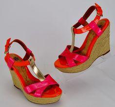 Sofft Pedra Womens 7.5 M Orange Pink Gold Patent Leather Espadrille Wedge Heels…