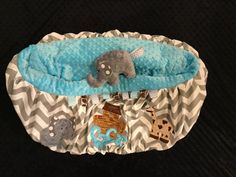 Noahs Ark Shopping Cart Cover with Stuffed Elephant by TWINSANDQUINN on Etsy