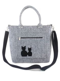 Handbag Felt purse Bag for women Anthracite bag Felt bag Designer handbag Felt shoulder bag